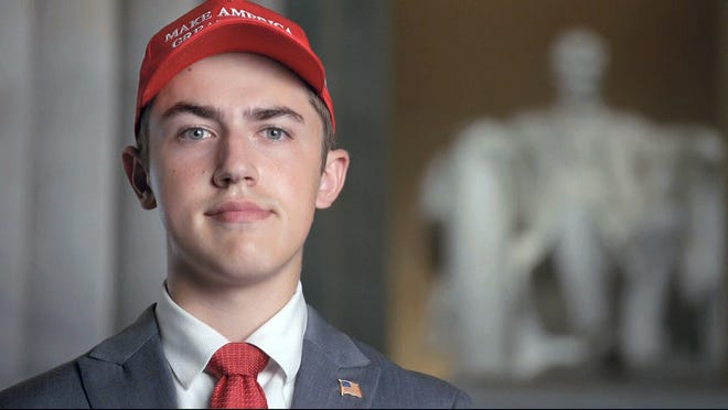 In this Tuesday, Aug. 25, 2020 image from video provided by the RNC, Nicholas Sandmann wears a 'Make America Great Again' hat as speaks from Washington, during the second night of the Republican National Convention.