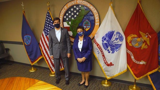 U.S. Secretary of Defense Mark Esper met with Gov. Lou Leon Guerrero on Saturday, Aug. 29, 2020.