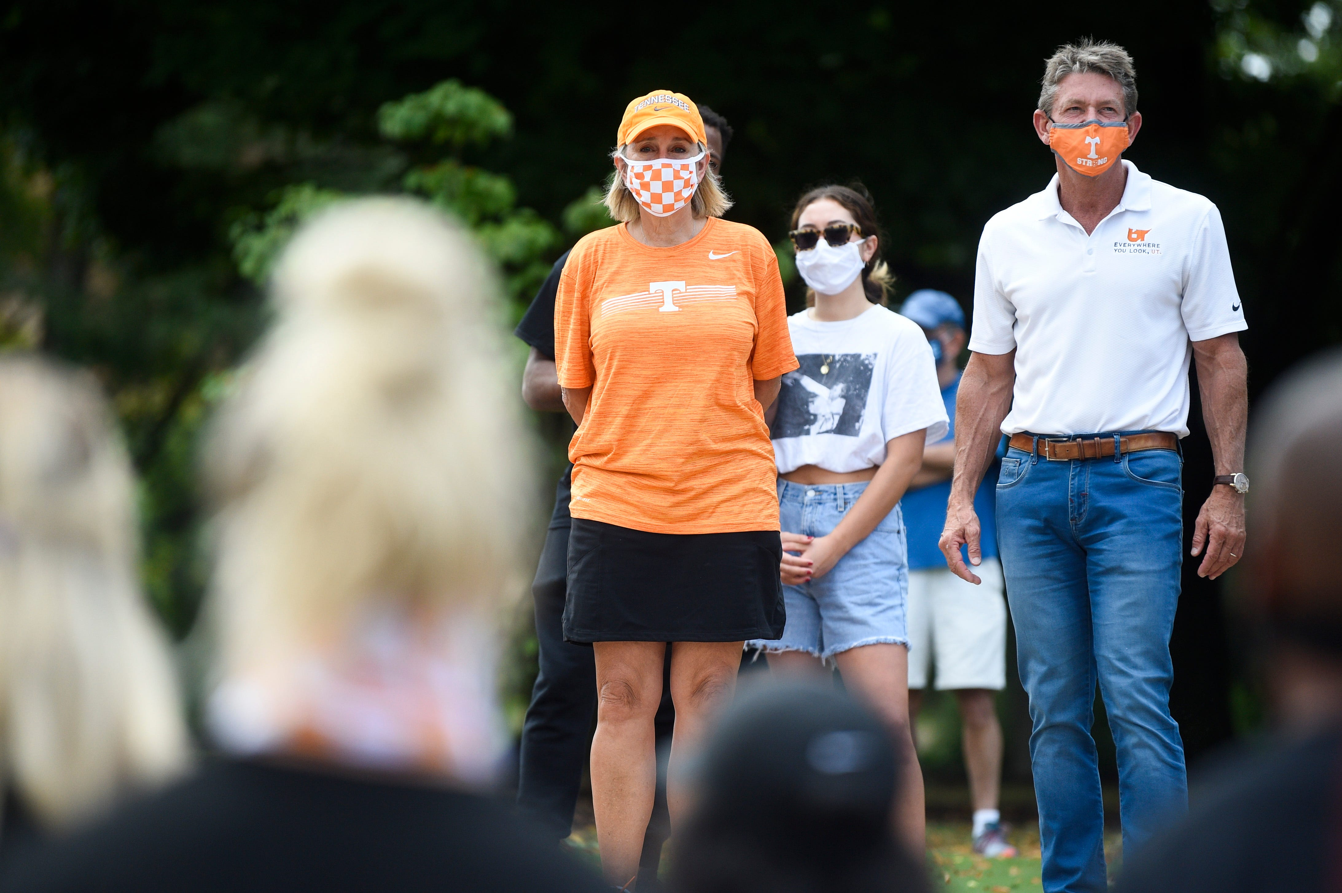 """University of Tennessee Chancellor Donde Plowman and UT System president Randy Boyd attended a march in August against systemic racism in America led by Black student-athletes on the Knoxville campus. """"They got to witness just how Black students were feeling and what it means to be an advocate for your community,"""" said Karmen Jones, Student Government Association president."""