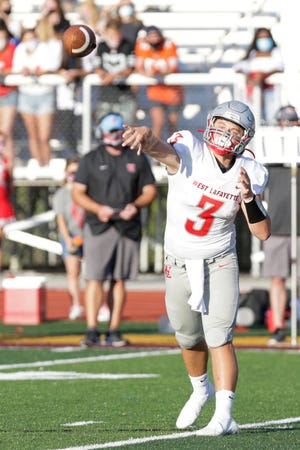 West Lafayette's Colin  Martin (3) throws during the first quarter of an IHSAA football game, Friday, Aug. 28, 2020 in Lafayette.