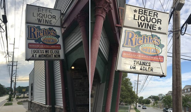 When Dr. Jeremy Adler issued a health order restricting bar and restaurant hours on Aug. 14, 2020, the sign over the door at Riehle's Neighborhood Bar & Grill, at 13th and Union streets in Lafayette, changed, too.