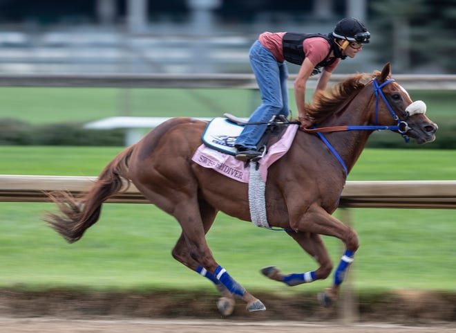 Possible Kentucky Oaks favorite Swiss Skydiver puts in a final workout on the Churchill Downs track before the race. Aug. 29, 2020