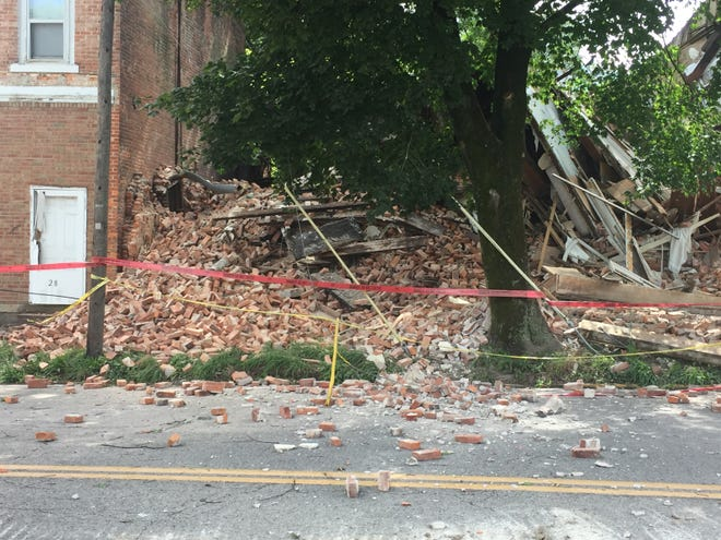 The front of the former Plymouth Hotel collapsed on Saturday afternoon.