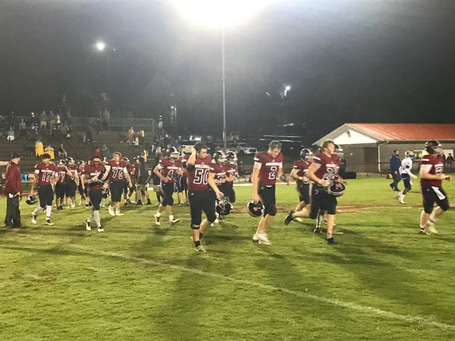 Columbia Academy players leave the field after falling to Shelbyville 29-7 on August 29, 2020.