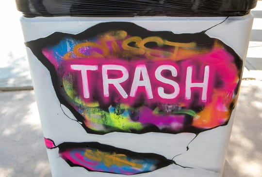 The James O. Jessie Desert Highland Unity Center has some new public art painted on the trashcans, benches and a utility box on August 29, 2020, in Palm Springs. It's a collaboration between the Palm Springs Public Arts Commission and Palm Springs Parks and Recreation.