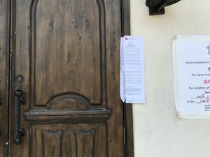 Arizona Department of Health Services posted notices at Bottled Blonde and Casa Amigos in Scottsdale (pictured here), closing them for violating rules intended to prevent the spread of COVID-19.