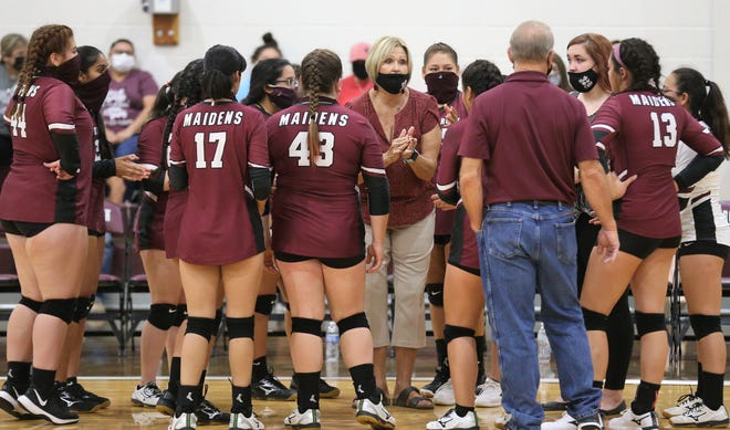 Paint Rock head coach Becky Bourland guided the Maidens to a 21-25, 25-23, 25-15, 25-22 win against former district rival Rochelle at the Paint Rock gym on Saturday, Aug. 29, 2020.