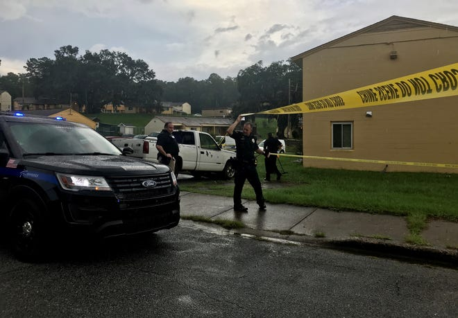 Tallahassee police respond after three people were shot and injured at Springfield Apartments, 1700 Joe Louis St., on Friday, Aug. 28, 2020.