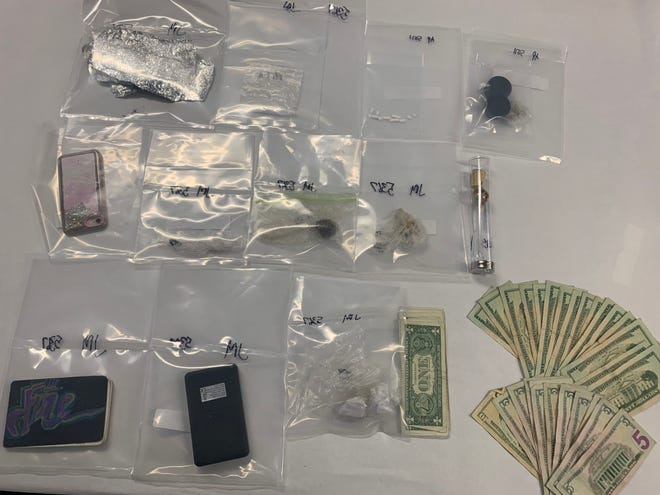 Various narcotics, including methamphetamine, fentanyl, heroin, xanax and cocaine seized during a drug arrest Friday in Oxnard.