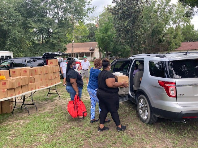 A free school supply giveaway was held Saturday at Antioch Educational Center in Ridgeland. Volunteers distributed food boxes, school supplies and book bags during the drive-through event.