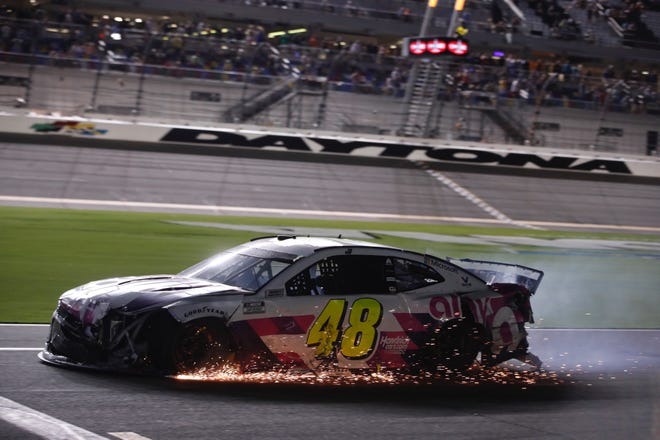 Jimmie Johnson's attempt to make the playoffs ended in a shower of sparks after he was swept into a Big One at Daytona.