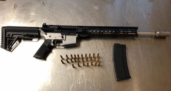 This AR-style rifle with no serial numbers or identifying marks was found Friday afternoon in a garage in the 100 block of Swain Drive by Lodi police officers investigating a report of gunfire. Officers also found multiple rounds of ammunition and 15 spent .223 shell casings in the yard that backs up to Century Park.