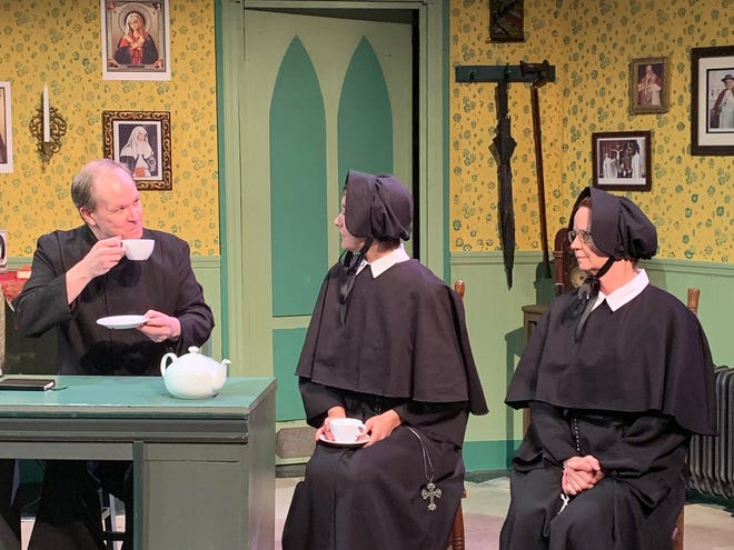 "From left, Jim Floyd, Haley Hines and Alice Byrne in a rehearsal for ""Doubt: A Parable"" at the Manatee Performing Arts Center. Lynne Doyle has replaced Byrne in the role of Sister Aloysius for a special performance Saturday night."