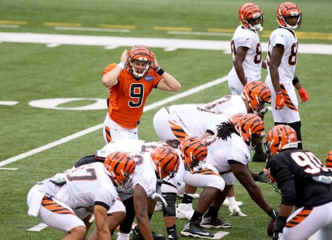 Cincinnati Bengals quarterback Joe Burrow calls out a play during a scrimmage at Paul Brown Stadium Sunday August 30, 2020.