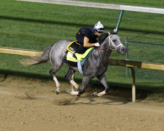 Winning Impression and exercise rider Emerson Chavez worked five furlongs in 59.20 seconds on Friday at Churchill Downs. Winning Impression enters the Kentucky Derby off a seventh-place finish in the Ellis Park Derby.