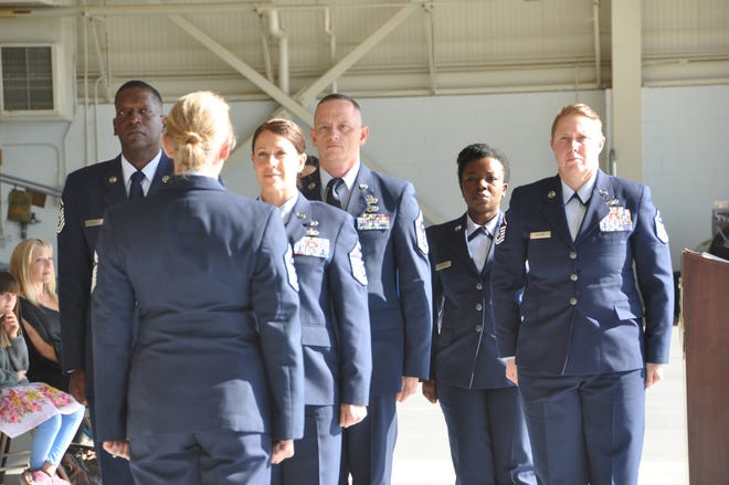 First Sergeants from the 908th Airlift Wing preform a Diamond ceremony during a retirement ceremony for a 908th first sergeant November 2 at Mawell Airforce Base. First Sergeants are essental to mission success.