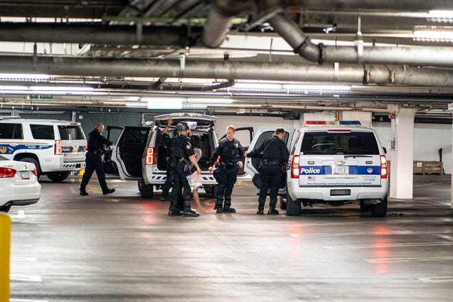 Phoenix police officers stopping Leslie Pico's car in the CityScape parking garage on August 28, 2020.