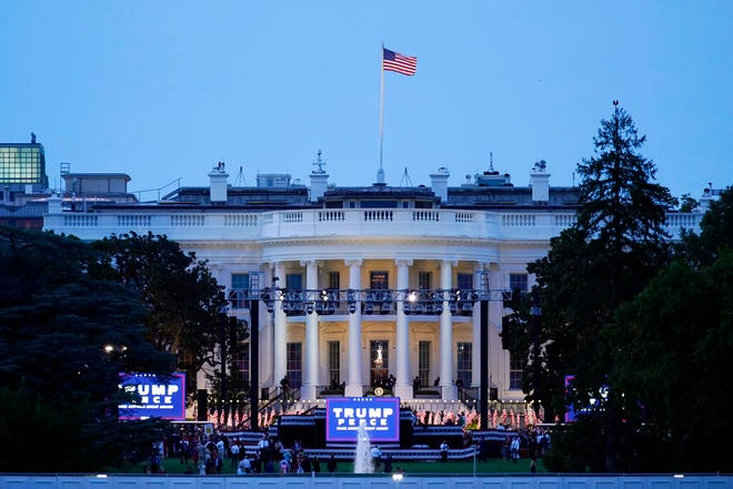 The White House stands ready for President Donald Trump to speak from the South Lawn of the White House on the fourth day of the Republican National Convention, Thursday evening, Aug. 27, 2020, in Washington. (AP Photo/Carolyn Kaster)