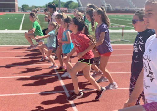 Members of Girls on the Run participate in a practice 5K in Lone Grove in the spring of 2019.