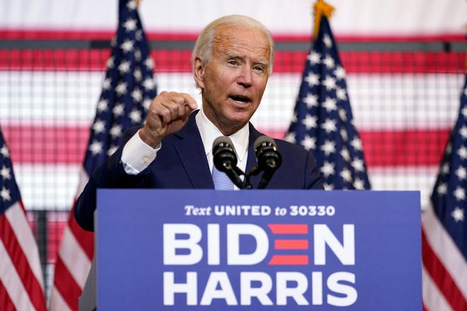 Democratic presidential candidate and former Vice President Joe Biden speaks at a campaign event Monday at Mill 19 in Pittsburgh.