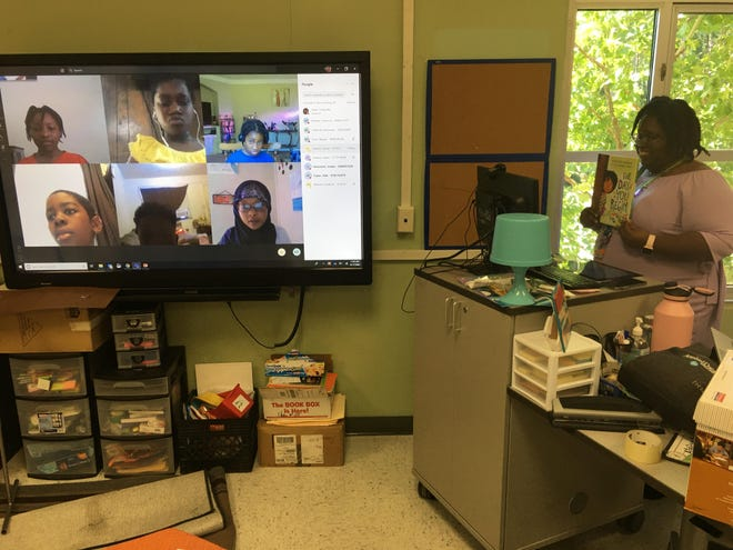 A Jasper County School District teacher works with students virtually during a recent class. Classes are all online because of the coronavirus pandemic.