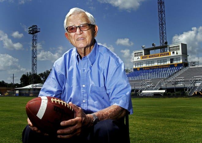 Former Vandebilt Catholic and South Terrebonne coaching legend Buddy Marcello died at age 95 on Sunday.