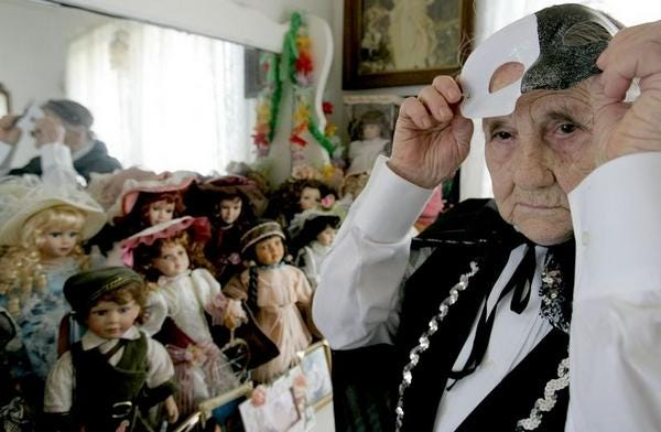 Pauline Frazier, of Houma, prepares to ride a Mardi Gras float in 2006 at the age of 92. She turned 107 on Tuesday.