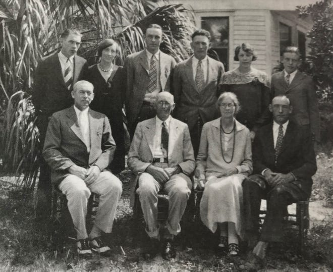 The Thomas Jefferson Cobb family moved from Hall County, Georgia, to Flagler County in the summer of 1923. Cobb built a farm in the Bimini area and farmed until the property was sold in 1958. From left to right, seated: John Tyrus, Thomas Jefferson, Alma Rosetta Addington (Jefferson's wife) and Thomas Watson Cobb; standing: Hugh Tanner, Ruth Pearl, Edward Dewey, Hoke Smith, Ruby Jane and William Howell Cobb.