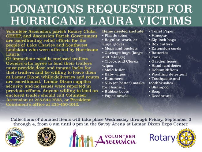 A coordinated effort to collect supplies for Hurricane Laura victims begins Wednesday.