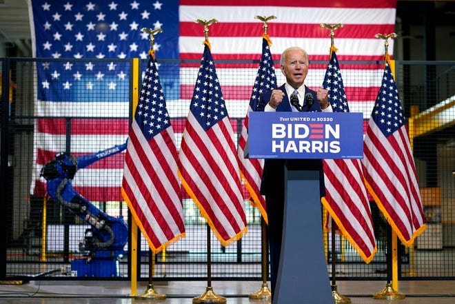 Democratic presidential candidate former Vice President Joe Biden speaks at campaign event at Mill 19 in Pittsburgh, Pa., Monday. After almost completely avoiding campaign travel since early March, Biden resumes in-person campaigning on Monday in Pennsylvania.
