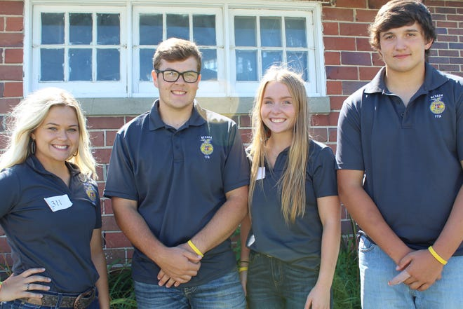 Nevada FFA Livestock Evaluation team that placed 6th and earned a gold award, L to R, Ellie Moser, Marshal Sheldahl, Chloe Henry, and Carson Mather, not pictured Kevin Cooper, Nevada FFA advisor.