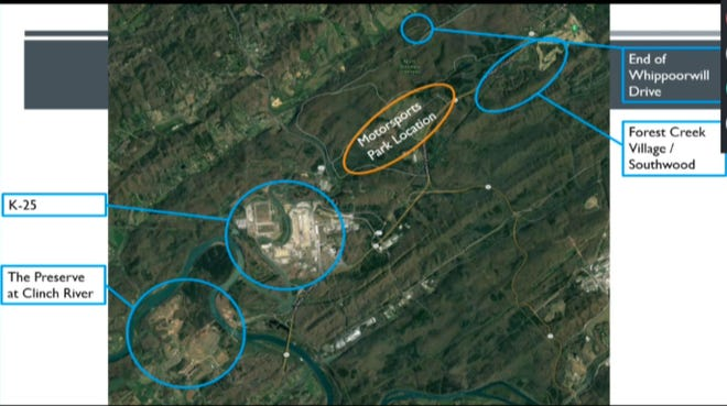 This screenshot shows a map shared by Oak Ridge Community Development staff showing the location of the motorsports park in relation to residential areas and the former K-25 site.