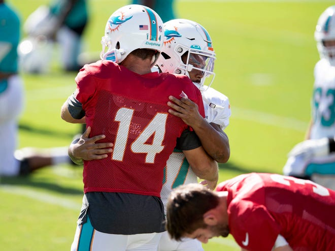 Dolphins quarterback Ryan Fitzpatrick (14) is hugged by running back Myles Gaskin before Monday's practice. [ALLEN EYESTONE/The Palm Beach Post]