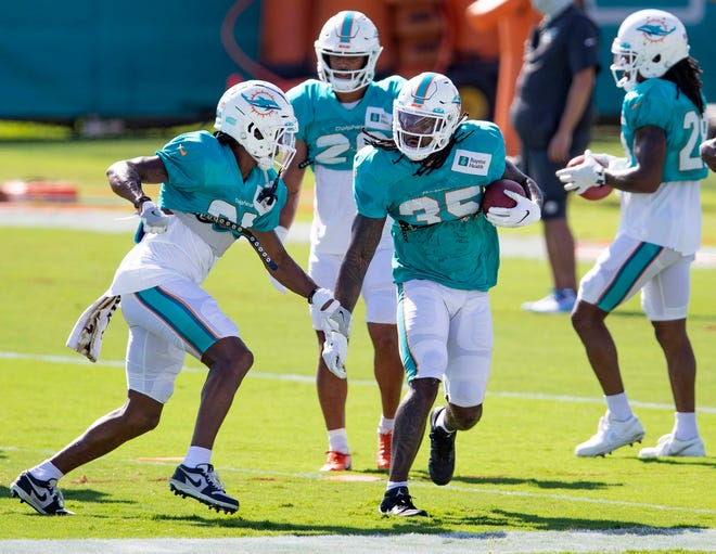 Miami Dolphins cornerback Nate Brooks (30) and Miami Dolphins safety Kavon Frazier (35) take part in a strip drill at Miami Dolphins training camp August 31, 2020.  [ALLEN EYESTONE/The Palm Beach Post]