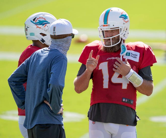 Miami Dolphins quarterback Ryan Fitzpatrick (14) at Miami Dolphins training camp August 31, 2020.  [ALLEN EYESTONE/The Palm Beach Post]