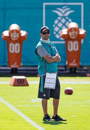 Miami Dolphins defensive coordinator Josh Boyer at Miami Dolphins training camp August 31, 2020.  [ALLEN EYESTONE/The Palm Beach Post]