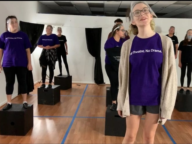 "Theater students practice a scene this summer from ""The Theory of Relativity,"" a streaming performance from the Barclay Performing Arts, a training and theater company in Boca Raton."