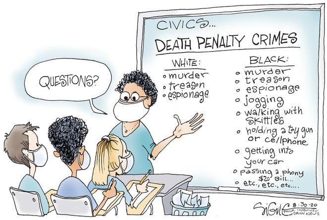 Wilkinson cartoon depicting racial injustice.