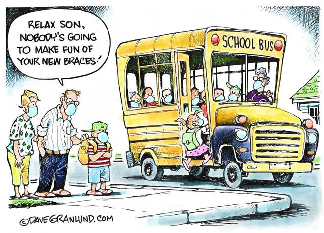 Editorial cartoon depicting reluctant school reopenings.