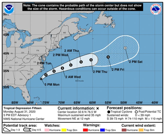 Tropical Depression 15 forms off the coast of the Carolinas.