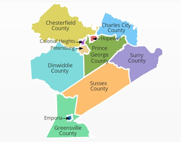 The Crater Planning District Commission oversees 11 Central Virginia localities, with major focuses in transportation, economic and small business development and the environment.