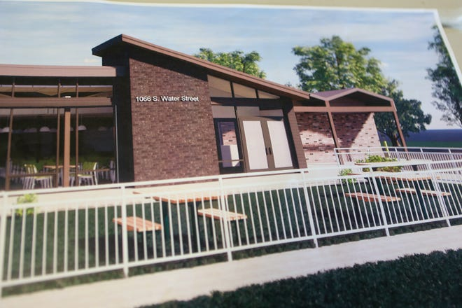 An artist's rendition of the remodeled front of the Kent Social Services building on South Water Street.