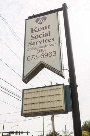 The Kent Social Services sign on South Water Street in Kent.