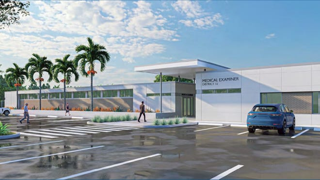 Renderings of the proposed District 12 medical examiner facility. On Monday, the Sarasota County commission agreed to look for a potential site for the new facility. [COURTESY OF SARASOTA COUNTY]