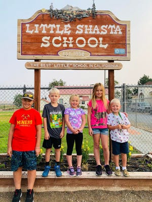 Isaac Martin, Wyatt Reusze, Ava Martin, Emma Martin, Abel Reusze are the sixth generation of the same family to attend Little Shasta School in Montague. Contributed photo