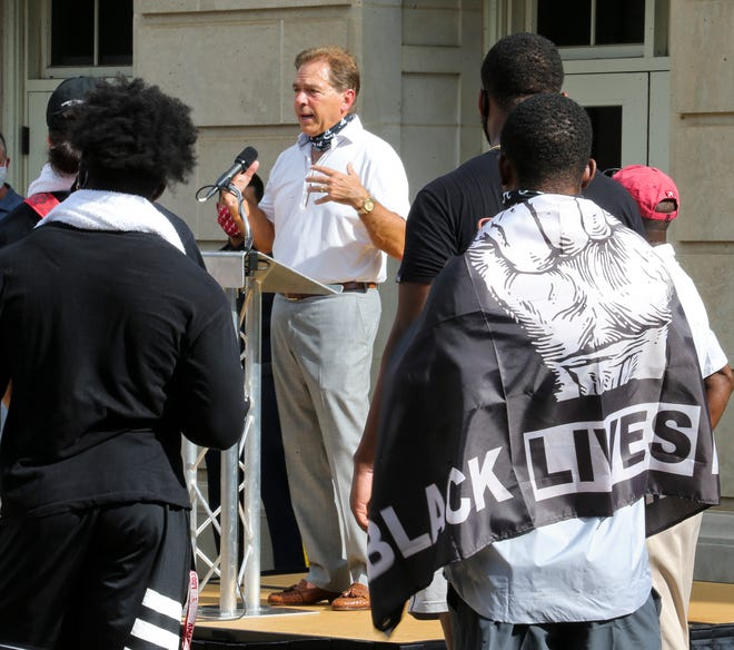 University of Alabama football Coach Nick Saban speaks at a social justice rally in front of Foster Auditorium, the site of the famous stand in the Schoolhouse Door to voice his support for social justice Monday, August 31, 2020, in Tuscaloosa, Alabama. Then Governor George Wallace made his famous stand in this doorway to attempt to prevent the integration of the university. Football players at Alabama staged the march and rally to support Black Lives Matter and issues of social justice. [Staff Photo/Gary Cosby Jr.]