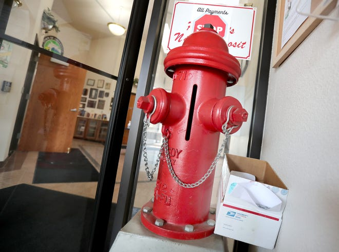 Greenville's drop box is made from a fire hydrant. It is located in the vestibule of Town Hall, W6860 Parkview Drrive.