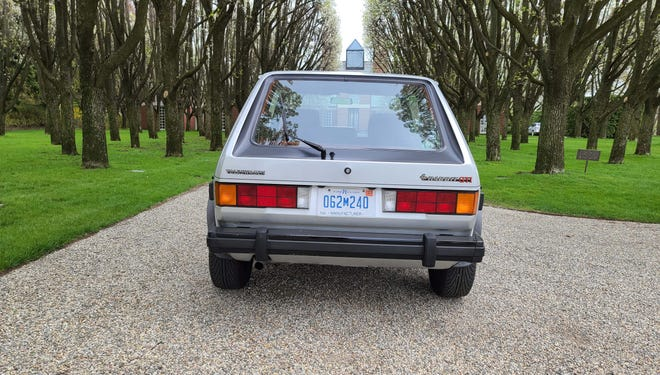 Fastest toaster in town. The rear view of the 1984 VW Rabbit GTI includes a loud little tailpipe.