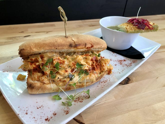 """Green Cup Cafe makes its vegan """"lobster"""" roll with hearts of palm in a creamy dill sauce."""
