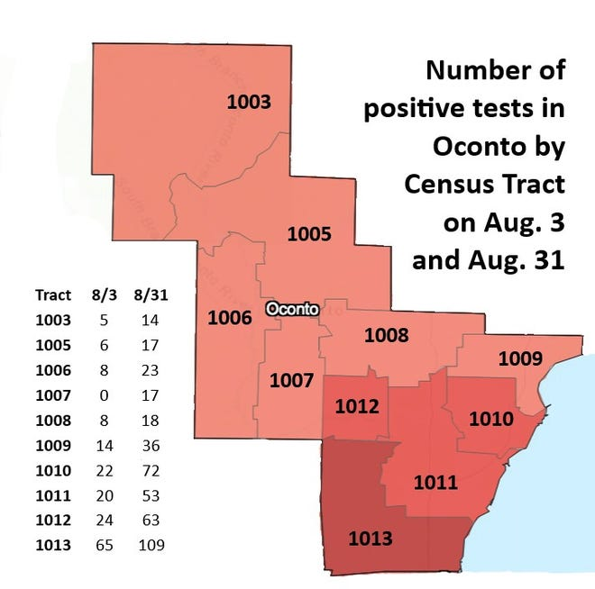 COVID-19 cases by Census Tract in Oconto County.